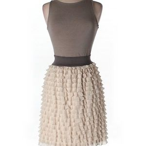 Sleeveless Bimaterial Ruffle Dress very trendy!